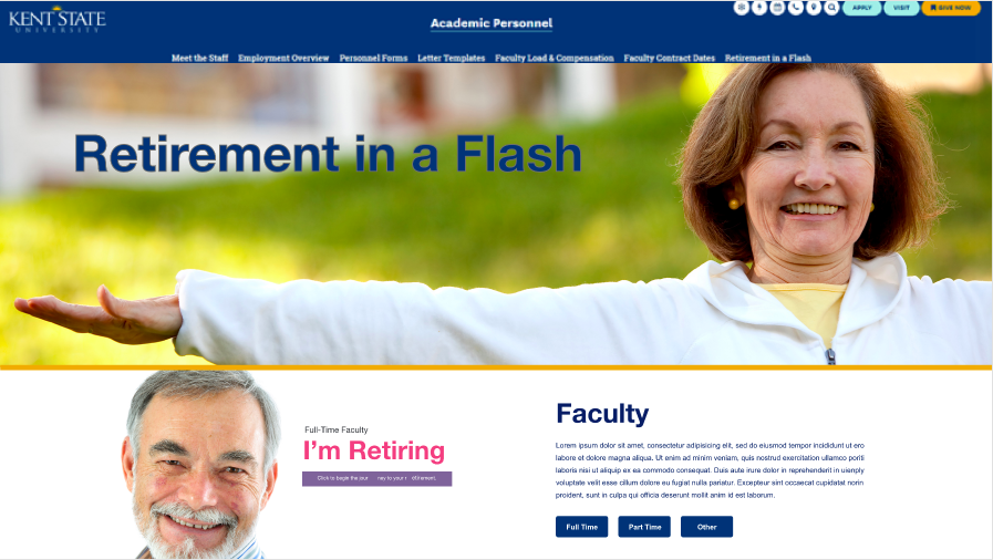 Screen Shot of a mock-up of a retirement website for Kent State.